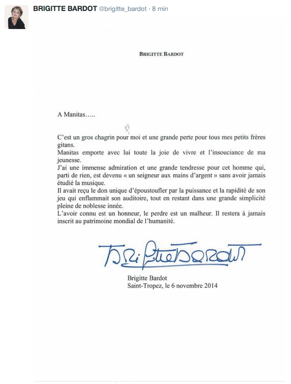 Lettre Brigitte bardot hommage manitas de plata